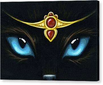 Jeweled Kitty Garnet Canvas Print by Elaina  Wagner