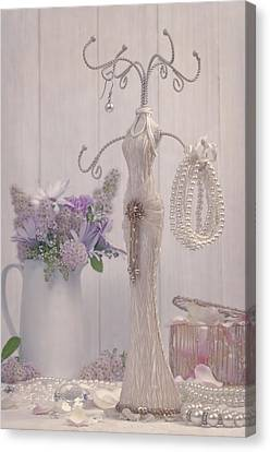 Jewellery And Pearls Canvas Print by Amanda Elwell