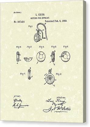 Jewelry Setting 1889 Patent Art Canvas Print by Prior Art Design