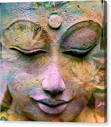 Jewels Buddha Face Canvas Print by Alixandra Mullins
