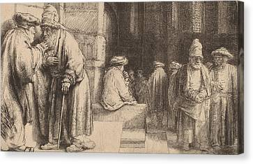 Jews In The Synagogue Canvas Print by Rembrandt