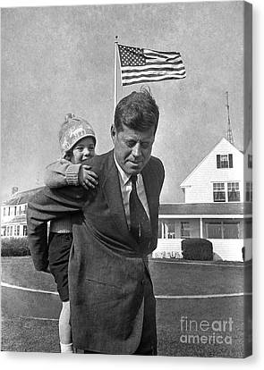 Canvas Print featuring the photograph Jfk And Caroline Kennedy 1960 by Martin Konopacki Restoration
