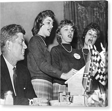 Jfk Listens To Campaign Song Canvas Print