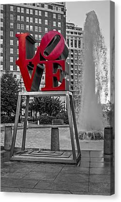 Jfk Plaza Love Park Bw I Canvas Print by Susan Candelario