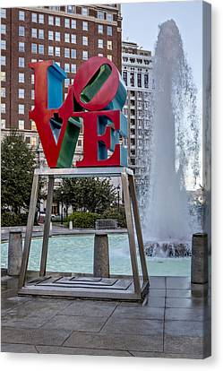 Jfk Plaza Love Park Canvas Print by Susan Candelario