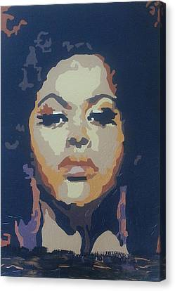 Canvas Print featuring the painting Jill Scott by Rachel Natalie Rawlins
