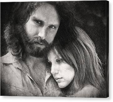 Jim Morrison . Legend Canvas Print - Jim And Pam by Taylan Apukovska