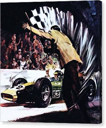 Jim Clark Wins America's Big Race Canvas Print by James Edwin McConnell