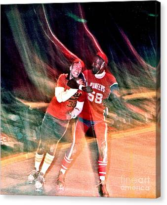 Canvas Print featuring the photograph Jim Fitzpatrick Vs Charles Gipson Battling In Old School Roller Derby With The Sf Bay Bombers by Jim Fitzpatrick