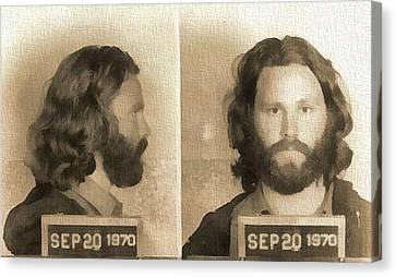 Jim Morrison . Legend Canvas Print - Jim Morrison Mug Shot by Dan Sproul