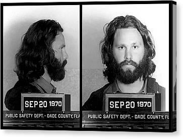 Arrest Canvas Print - Jim Morrison Mugshot by Daniel Hagerman