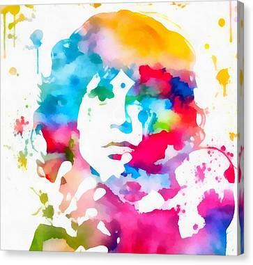Jim Morrison . Legend Canvas Print - Jim Morrison Paint Splatter by Dan Sproul