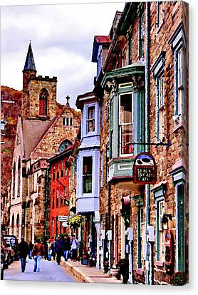 Canvas Print featuring the photograph Jim Thorpe Pa Stone Row by Jacqueline M Lewis