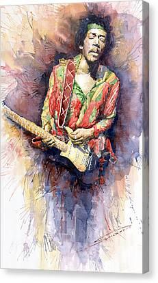Guitarist Canvas Print - Jimi Hendrix 09 by Yuriy  Shevchuk