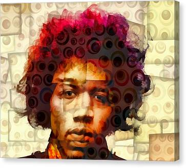 Jimi Hendrix Abstract Cubism Canvas Print by Dan Sproul