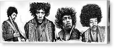 Jimi Hendrix Art Drawing Sketch Poster  Canvas Print by Kim Wang