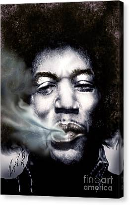 Jimi Hendrix-burning Lights-2 Canvas Print