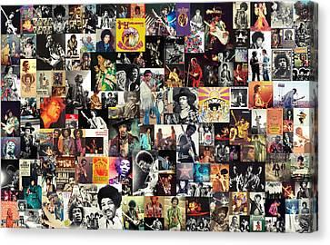 Jimi Hendrix Collage Canvas Print by Taylan Apukovska