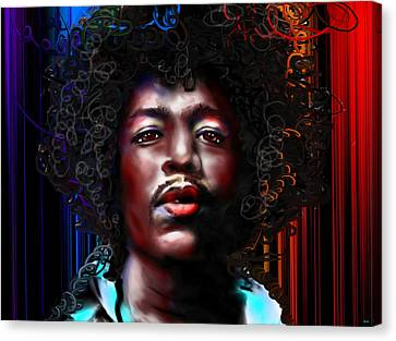 Jimi Hendrix Color Canvas Print by Daniel Janda