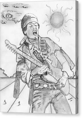 Jimi Hendrix Canvas Print by Dan Twyman