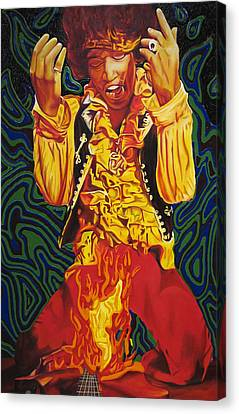 Jimi Hendrix Fire Canvas Print by Joshua Morton