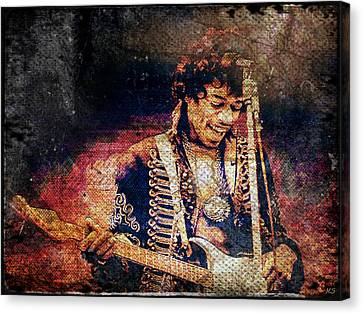 Jimi Hendrix - Guitar Canvas Print by Absinthe Art By Michelle LeAnn Scott
