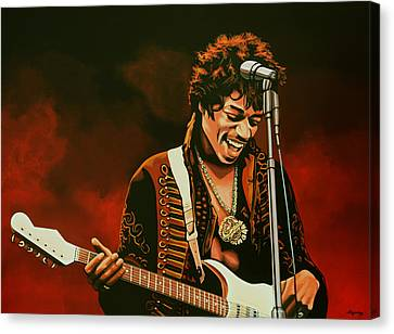 Jimi Hendrix Painting Canvas Print by Paul Meijering