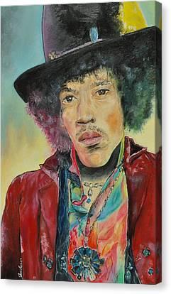 Jimi Hendrix Canvas Print by Paula Sharlea
