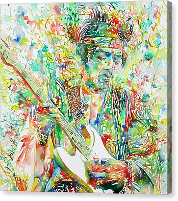 Jimi Hendrix Playing The Guitar Portrait.1 Canvas Print by Fabrizio Cassetta