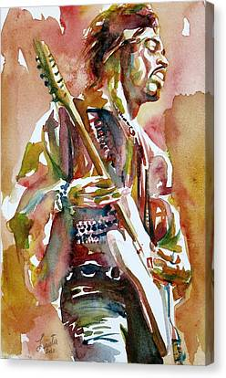 Jimi Hendrix Playing The Guitar Portrait.3 Canvas Print by Fabrizio Cassetta