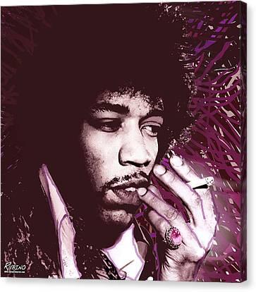 Jimi Hendrix Purple Haze Red Canvas Print by Tony Rubino