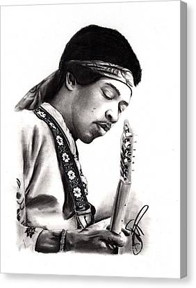 Jimi Hendrix Canvas Print by Rosalinda Markle