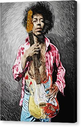 Jimi Hendrix Canvas Print by Taylan Apukovska