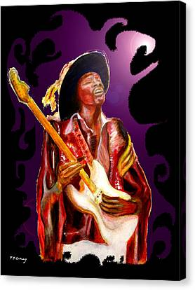 Jimi Hendrix Variations In Purple And Black Canvas Print by Tom Conway