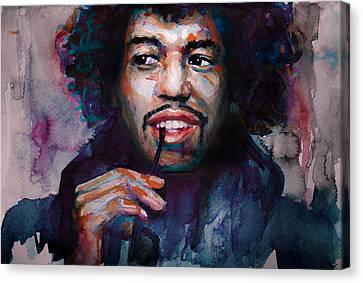 Jimi Hendrix Watercolor Canvas Print by Laur Iduc