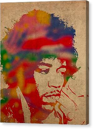 Jimi Hendrix Watercolor Portrait On Worn Distressed Canvas Canvas Print by Design Turnpike
