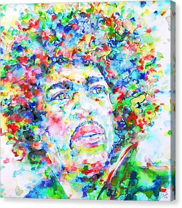 Jimi Hendrix  - Watercolor Portrait.3 Canvas Print by Fabrizio Cassetta