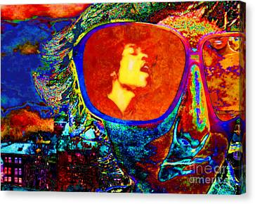 Canvas Print featuring the digital art Jimi Lives by Mojo Mendiola