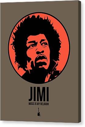Jimi Poster 1 Canvas Print by Naxart Studio