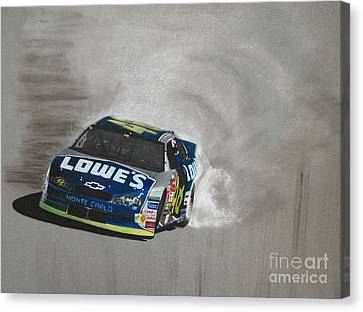 Jimmie Johnson-victory Burnout Canvas Print by Paul Kuras