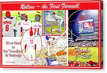 Citizens Bank Park Canvas Print - Jimmie Rollins Farewell by A Gurmankin