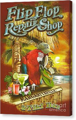 Parrots Canvas Print - Jimmy Buffett's Flip Flop Repair Shop by Desiderata Gallery