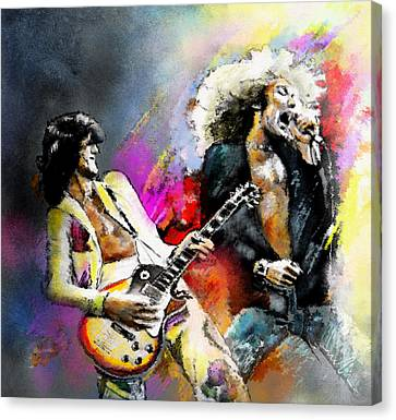 Jimmy Page And Robert Plant Led Zeppelin Canvas Print by Miki De Goodaboom