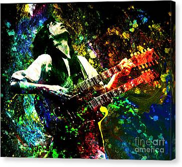 Jimmy Page - Led Zeppelin - Original Painting Print Canvas Print by Ryan Rock Artist