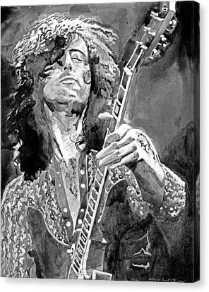 Jimmy Page Mono Canvas Print by David Lloyd Glover