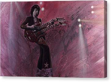 Jimmy Page Canvas Print by Robert  Laskey