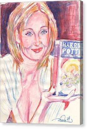 Jk Rowling Happy Canvas Print by Horacio Prada