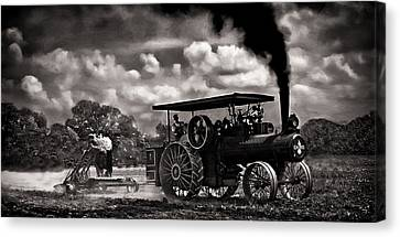Jl Case 65hp Steam Tractor Plowing - Monochrome Canvas Print by F Leblanc