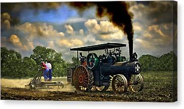 Jl Case 65hp Steam Tractor Plowing Canvas Print by F Leblanc