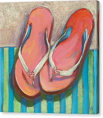 The White House Canvas Print - Pink Flip Flops by Jen Norton